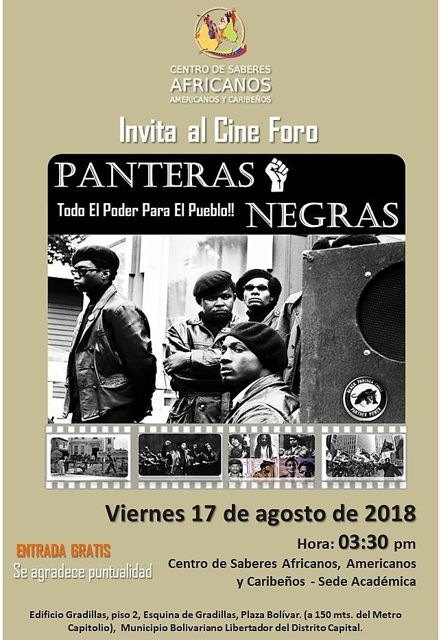 Flyer Panteras Negras. Todo el Poder para el Pueblo