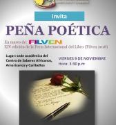 PEÑA POÉTICA este viernes 19 de noviembre en el Centro de Saberes Africanos, Americanos y Caribeños
